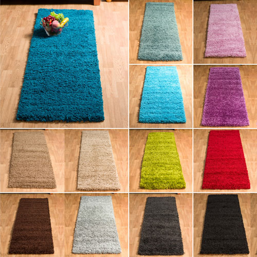 Small Large Pink Rug Cerise Runners Sparkle Modern Thick: Soft Thick Plain Modern 5CM Pile Shaggy Runner Non-Shed