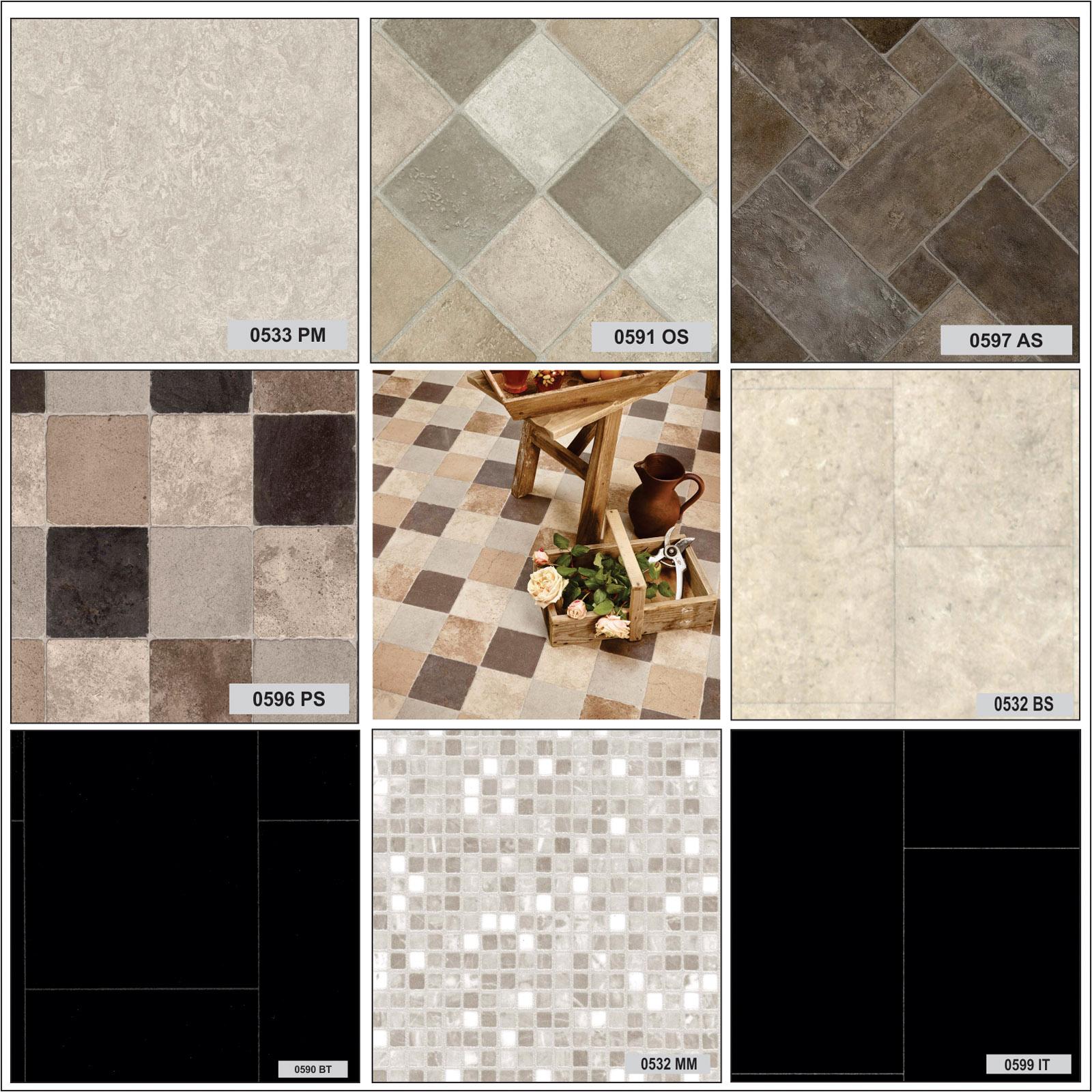 Non slip vinyl floor tiles