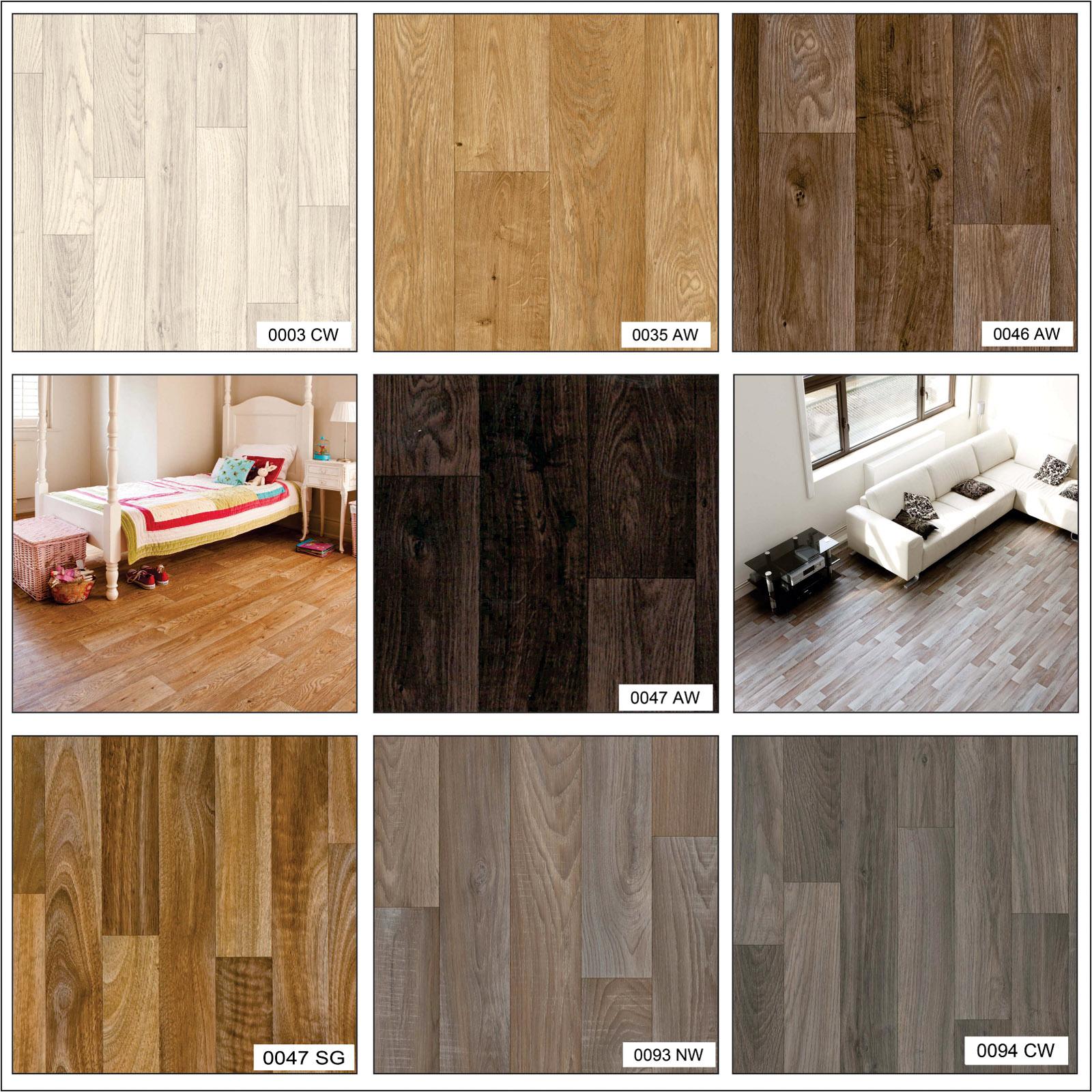 Wood Effect Anti Slip Lino Home Office Kitchen Bedroom Vinyl